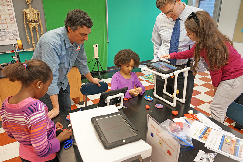 Principal Mark Hurrie, students, and parent volunteer at the launch of the Kennedy School Makerspace and Innovation Center (December 2015)