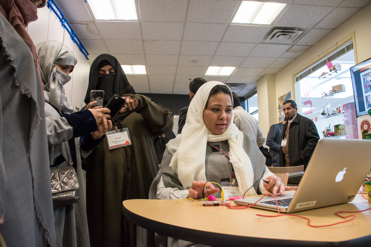 Dr. Maha Al Sulaiman of Princess Nora University experiments in the makerspace.